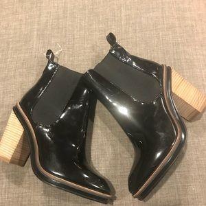 ALDO Patent Genuine Leather Block Heel Booties 10